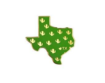 Texas Emaille Pin - Texas Zustand-Kaktus-Pin