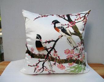 Decorative Velvet Pillow Cushion Cover Flower Bird Double Sides Artwork Sitting Birds