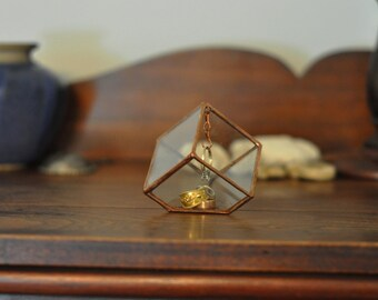 Stained Glass Ring Holder - Glass Display Box - silver or copper - eco friendly - etching