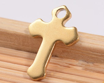 2 Stainless Steel Gold Plated Cross Charms Simple Elegance- MT071