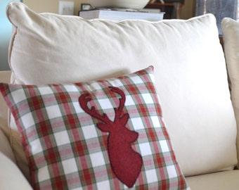 Plaid Large Deer Head Pillow