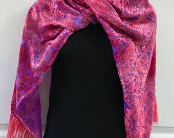 Silk Velvet Scarf, Hand Dyed, Pink over Purple