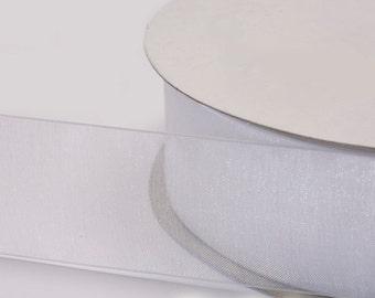 """White Organza Ribbon, Organza Sheer Ribbon, Widths Available: 1 1/2"""", 1"""", 6/8"""", 5/8"""", 3/8"""", 1/4"""", 1/8"""""""