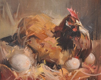 Western hen portrait chicken Original oil Painting  on canvas panel 15CMX15CM