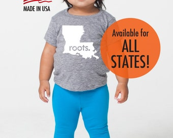 All States and Washington DC 'Roots.' Tri Blend Baby T-Shirt Gift - Infant Boy and Girl Tee