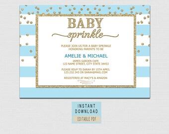 BABY SPRINKLE INVITATION Boy Printable, boy sprinkle invitation download, blue stripe sprinkle invitation instant download, elegant pdf BL1