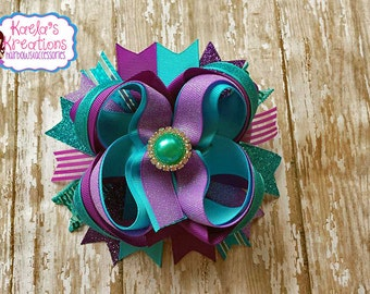 Purple and Turquoise Hair Bows,Blue and Purple Hair Bows,Turquoise and Purple Hair Bows,Big Purple and Blue Hair Bows, Over The Top Bows.
