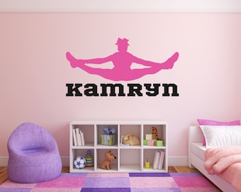 Cheerleader Girl Name Room Wall Decor Vinyl Decal Sticker - Personalized Cheerleader Toe Touch