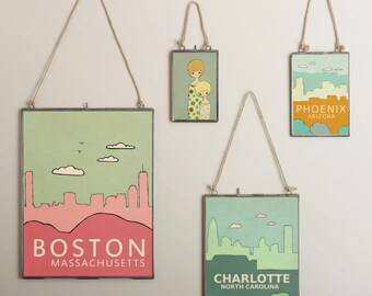 Home Decor Children Decor Wall Art City Travel Poster// Charlotte North Carolina// City Skyline Poster Travel Art