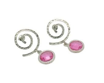 Pink Topaz Gems Drop Earrings, Pink Crystal & Silver Wedding Jewellery, Pink Bridesmaid Earrings Gift, Spiral Matt Silver Post Earrings. UK