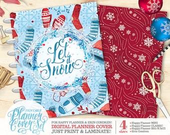 "50% OFF Printable Planner/Binder Cover SET - ""Let it Snow"" | Happy Planner | Erin Condren | U.S. Letter Binder | Instant Download"