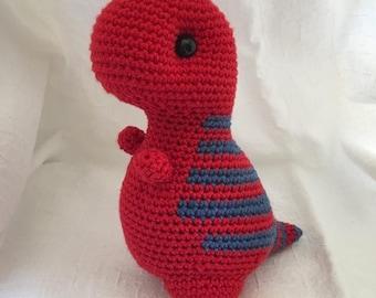 T-Rex Dinosaur Red/Blue - Handmade Crochet Toy