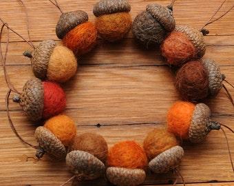 Orange Felted Wool Acorns or Acorn Ornaments, Set of 12