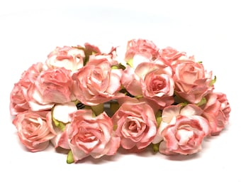 Two Tone Salmon Pink Classic Mulberry Paper Roses Cr009