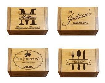Personalized Wood Recipe Box, Engraved Recipe Box, Custom Wood Recipe Box For Wedding, Etched 4x6 Recipe Card Holder, Kitchen Gifts For Mom