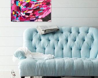 abstract painting, original painting,  magenta painting, pink abstract, abstract wall art, acrylic original painting, abstract canvas, teal
