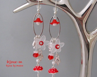 Costume jewelry earrings red and white flowers and mushrooms