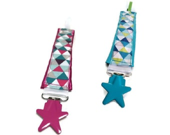 Pacifier clip, custom shapes, stars. Unique creation! Available immediately!