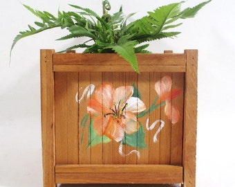 Hand Painted Planter Box, Vintage Hibiscus Motif Tropical Garden Deck Porch Decor
