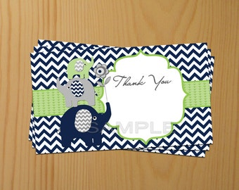 Thank You Card Thank You Elephant Baby Shower Blue Thank You Card Printable Thank You Card Chevron (80a)