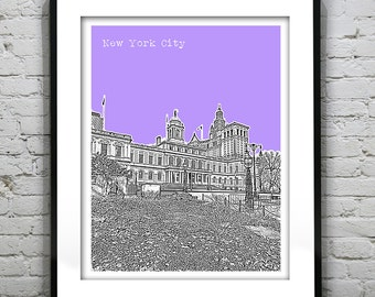20% OFF Memorial Day Sale - New York City Hall Skyline Poster Art Print NYC Manhattan Version 3