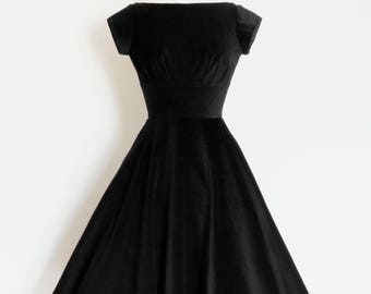 Deep Black Velvet Evening - Audrey Hepburn - Dress with Circle Skirt and Cap Sleeves - Made by Dig For Victory