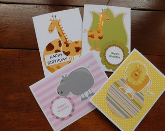 Children's birthday cards - Kids Birthday Card - Birthday Cards Set of 4 - Animal Birthday Card Set - Birthday cards for all ages - Animal
