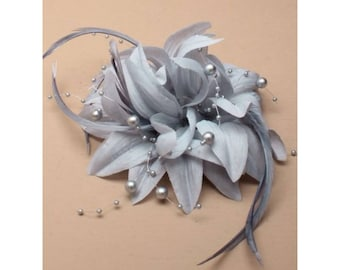 silver fascinator, wedding fascinator, wedding hair piece, flower fascinators, elegant hair piece,  grey flower clip, ladies day hair piece