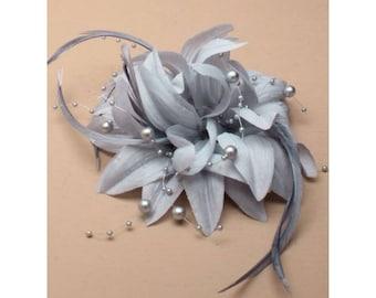 silver fascinator, wedding fascinator, wedding hair piece, flower fascinators, elegant hair piece,  grey flower clip, ladies day hair piece
