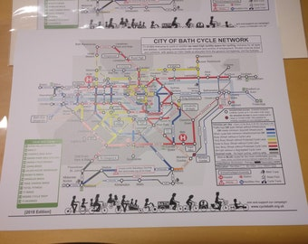 City Of Bath Cycle Network A3 Print