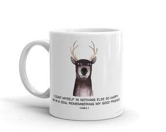 "Shakesdeer mug  with ""fair friend"" Shakespeare quote"
