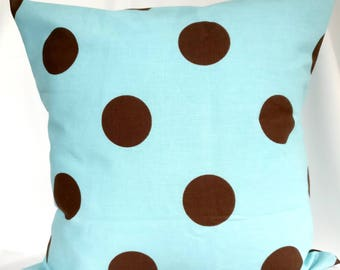 SALE Pillow covers Brown Blue Pillow cases,  Polka Dot pillow, geometric pillow, Decorative Pillows 18x18, 16X16, 14x14, 12x12, 10x10
