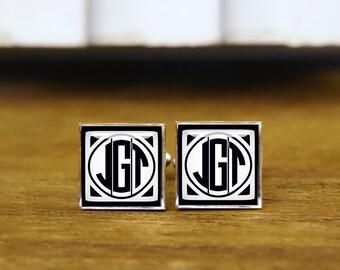 Monogrammed Initial Cufflinks, Custom Initial, Square Cufflinks, Personalized Cufflinks, Groomsman Cuff links, Cufflink For Men, Gift Idea