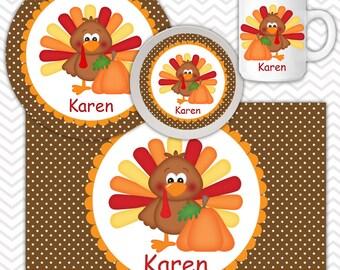 Thanksgiving Turkey Plate, Bowl Mug  Set - Personalized Turkey Plate Set - Customized Plate, Bowl, Mug - Melamine Plate, Bowl & Set for Kids