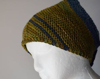 Hand Knit Kerchief Style Scarf - Soft Luxury Wool Yarn & Wooden Buttons - Green and Blue Striped Triangle Scarf/Headwrap Unisex Fall Fashion