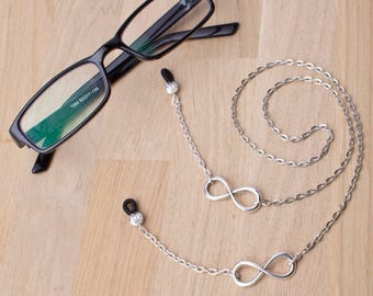 Silver glasses chain - silver infinity symbol link eyeglasses lanyard | Love simple eyewear neck cord | Sunglasses chain | Eyeglasses holder