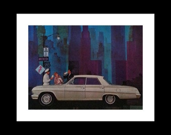 1962 Chevrolet Impala White Illustration City Scape Husband Milk Drinking.  US 20 Highway Chicago IL. Funny Curious.  Ready for Framing.