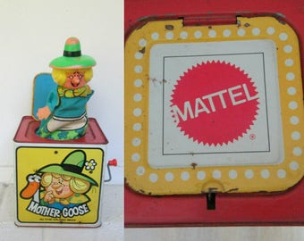 1970s Vintage Mattel Toy // Mother Goose Jack In The Box Wind Up Music