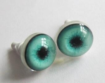 Pair Green Doll Eyes, Realistic Doll Eyes 10 mm, BJD Eyes, Toy Eyes, Craft Eyes, Doll Parts