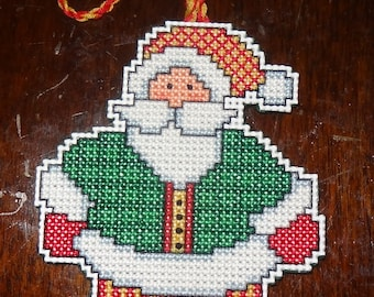 Santa Claus Ornament Christmas Finished Cross Stitch Christmas