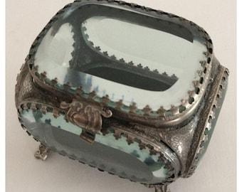 SALE Antique Vintage Rare Art Nouveau Deco Silver Plated Beveled Glass Rectangle Jewelry Casket Trinket Box