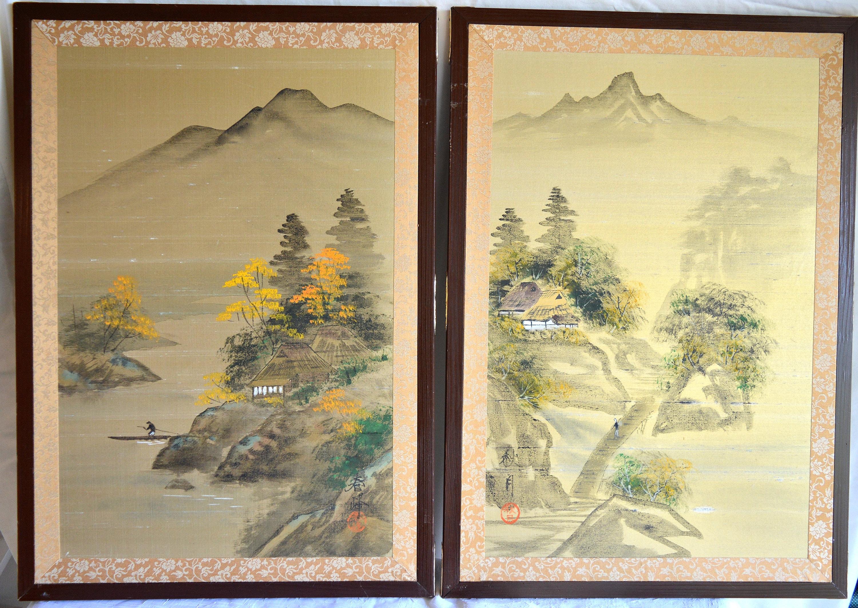 Vintage Japanese Gold Silk Painted Signed Framed Art Panels