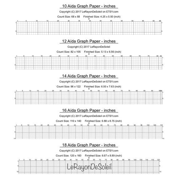Aida     And  Cross Stitch Graph Paper Grid Template