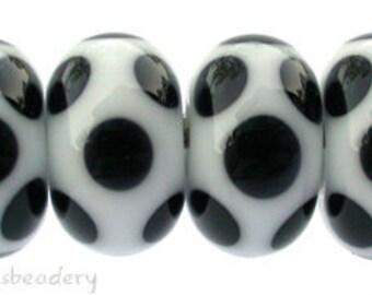 Lampwork Glass Beads Set WHITE BLACK DICE Dot Handmade - taneres - polka dot