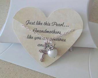 Grandma Necklace, Grandma Jewelry, Grandmother of the Groom, Wedding Gift for Grandmother, Pearl Necklace, Godmother Jewelry, Godmother Gift