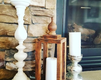 Burned Distressed Stained Lantern Candleholder