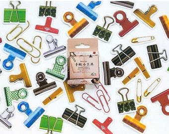 Paper Deco Label Seal Set - Clips - 45 Pcs