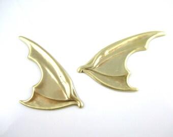 Raw Brass Stamped Bat Wings Brass Dragon Wing Stamped Findings Brass Stamping Wings Jewelry Supplies 68mm (1 pr) 61V17