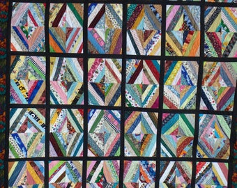 string quilt, scrap quilt, queen size quilt, king size quilt, diamond quilt, rainbow quilt, modern quilt