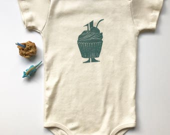 1st Birthday Organic Cotton Short Sleeve Infant One Piece-Handmade in Seattle-Cupcake Design- Baby Gift-Baby Bodysuit-Made in USA
